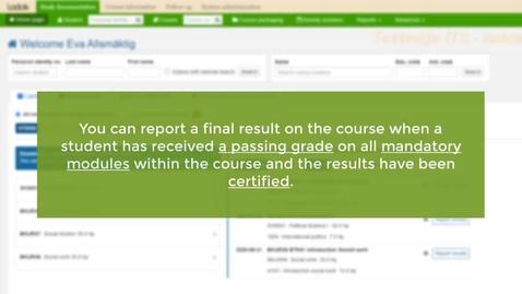 Miniatyr för inlägg Report a final course result