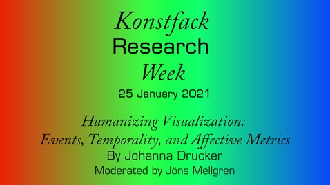 Thumbnail for entry Research Week 2021: Humanizing Visualization: Events, Temporality, and Affective Metrics